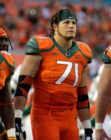 Miami Hurricanes defensive lineman Anthony Chickillo (71) stands on the field before an NCAA football game against Florida A&M , Saturday, Sept. 6, 2014, in Miami Gardens, Fla. (AP Photo/Lynne Sladky)