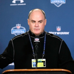 Pittsburgh Steelers general manager Kevin Colbert answers a question during a news conference at the NFL football scouting combine in Indianapolis, Wednesday, Feb. 18, 2015. (AP Photo/David J. Phillip)