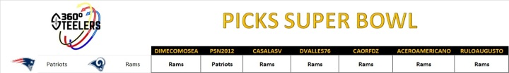 PICKS SUPER BOWL (STEELERS 360)